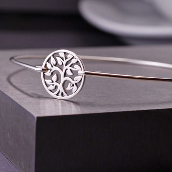 Eco Friendly Tree Jewelry, Tree of Life Bracelet, Recycled Sterling Silver, Family Tree Jewelry, Sterling Silver Tree Bangle Bracelet