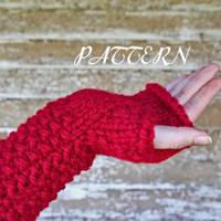Long Fingerless Gloves Knitting Pattern - Thick and Chunky - Instant Download PDF - Lion Brand Yarn