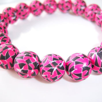 Hot Pink and Black Mosaic Polymer Clay Beads by BeadsByKatrina