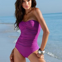 La Blanca Swimsuit, Bandeau One Piece Bathing Suit with Tummy Control