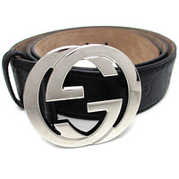 Auth Gucci Black GG Leather Belt Silver Hardware (DH44171)