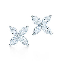 Tiffany & Co. - Tiffany Victoria™ earrings in platinum with diamonds, medium.