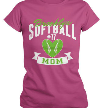 Women's Personalized Softball Mom T-Shirt Custom Sports Shirts Team Colors Custom Tees