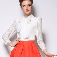 White Lace Blouse With Bow Trim - Choies.com