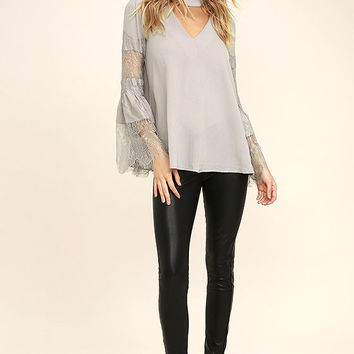 Step and Repeat Grey Lace Long Sleeve Top