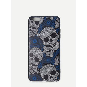 Skull & Paisley Print IPhone Case