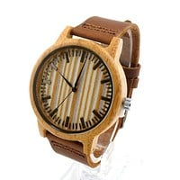 Bamboo Wood Watch Men Dress Watches with Cow Leather Strap Quartz Analog Unisex Wooden Wristwatch For Unisex