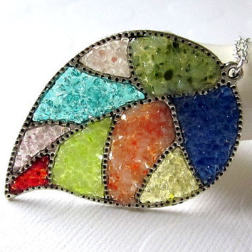 Mosaic Necklace Stained Glass Patchwork Quilt Glass Leaf Necklace Pressed Glass Glitter Necklace Silver Leaf Pendant Blue Aqua Green Resin