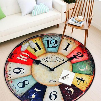 Thicken Tapete Vintage Wall Clock Printed Round Carpet Living Room Bedroom Rugs Anti-Slip Wear-Resisting Baby Crawling Soft Mats