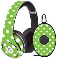 White Polka Dot on Lime Skin  for the Beats Studio Headphones & Case by skinzy.com