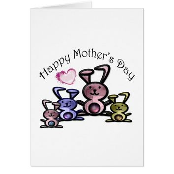 Mother's Day Cute Bunnies Card