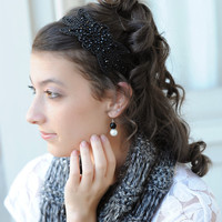 Black Beaded Flower Headband for Women Teens