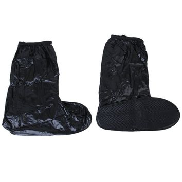 Good deal Waterproof and non-slip shoes covers Rain boots Reflective bike motorcycle riding Black XXL