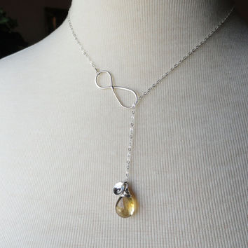 Sterling silver Infinity necklace personalized with custom birthstone and initial, Citrine Y necklace, Lariat necklace, Infinity jewelry