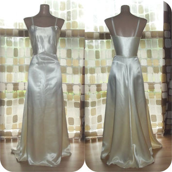 Vintage 30s Champagne Ivory Liquid Satin Bias Harlow Gown Formal Cocktail Wedding Slip Dress Gatsby M/L