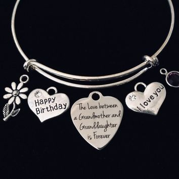 Personalized Happy Birthday Granddaughter Grandmother Expandable Charm Bracelet Adjustable Bracelet Silver Bangle Gift I Love You  Birthstone