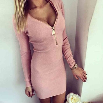 2017 New Arrival Sexy Women Ladies Zip V Neck Dresses Long Sleeve Winter Bodycon Mini Dress New S-XL