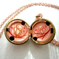 Love Owls Locket - Hand Painted Necklace - Hot pink, Red and Cream in a Vintage Brass Locket