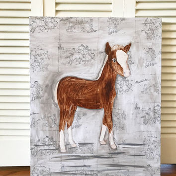 Horse painting, horse art, horse nursery, nursery art, wall art, nursery, mixed media, oil painting, nursery decor, nursery wall art