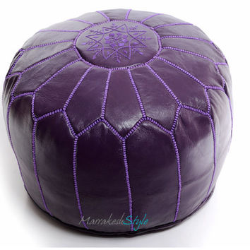Moroccan Pouf, Purple Leather Pouf, Round Ottoman Foot Stool Pouffe, Home Decor-Furniture Housewares Seating
