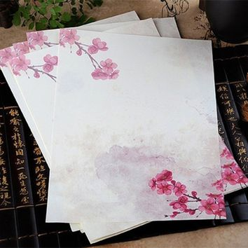8 pcs/lot vintage Pink Peach Flower letter paper stationery writing paper letter school office supplies
