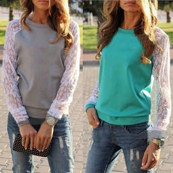 Womens Lace Long Sleeve Contrast Color Casual Tops T shirt Plain Blouse(5 Colors,Size S-3XL) = 1920206852