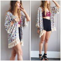 A Grey and Roses Floral Kimono
