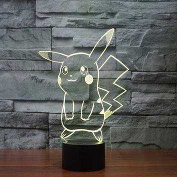 Pokemon Go pikachu figurines table lamp toys 2016 New Pokemon 3D LED 7 color changing flash birthday party atmosphere decoration