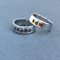 Sam and Frodo Lord of the Rings LOTR the Fellowship Best Friends Rings Couples Rings  Stamped Aluminum Ring - 2