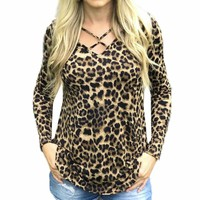 Leopard Print Women's Sexy Leopard Print Long Sleeve Blouse by Feitong