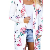 Flower Print Cardigan Slim Long Coat