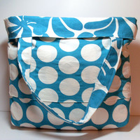 Beach Tote Bag - Extra Large Tote - Reversible Beach Bag - Turquoise White - Floral Polka Dots - Summer Beach Bag - Made To Order