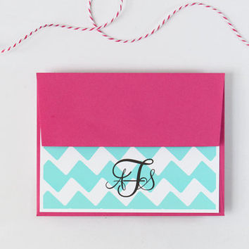 Custom Stationary Pink and Teal Turquoise Chevron Personalized Stationery Teacher Gift Chevron Zig Zag Pink and Turquoise - Set of 10