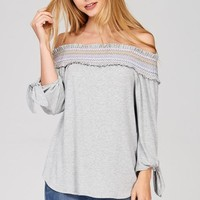Embroidered Off Shoulder Top - Grey