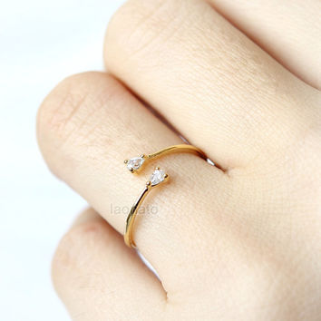 Tiny Oval CZ Ring / adjustable ring, thin ring, choose your color, gold and silver