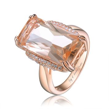 14K Rose Gold 8CT Radiant Cut Peach Morganite Halo Ring