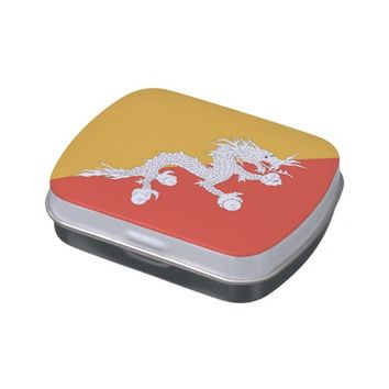 Patriotic candy tins with Flag of Bhutan