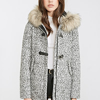 FOREVER 21 Marled Faux Fur-Hooded Coat Cream/Black