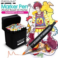 Finecolour 36/48/60/72 Colors Sketch Markers Animation Pens Set For School Student Design Draw Brush Marker Art Supplies