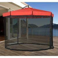 Red Patio Umbrella 10' With Mosquito Netting/Canopy