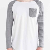 Feathers Stripe Pocket Raglan Tee