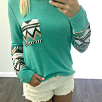 Havana Nights Terry Mint Tribal Sequin Sleeve Pocket Top