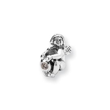 Sterling Silver April CZ Birthstone, Angel Bead Charm