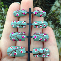 Cherry Blossom False Nails With Pink Rhinestones - Hand Painted Green Cherry Blossom Fake Nails With Pink Rhinestones
