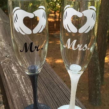 Mr. And Mrs. Disney inspired wedding champagne glasses set