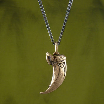 "Wolf Claw Necklace Bronze Wolf Claw Pendant on 24"" Gunmetal Chain"