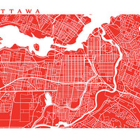 Ottawa Map Art - Canada Wall Art - Ontario