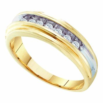10kt Yellow Two-tone Gold Mens Round Diamond Single Row Wedding Band Ring 1/4 Cttw