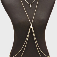 Rhinestone Teardrop Multi Layered Coin Body Chain - Gold