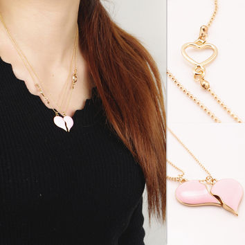 Gift Shiny Jewelry Stylish New Arrival Simple Design Pink Necklace [7316492487]